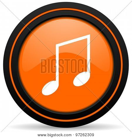 music orange icon note sign