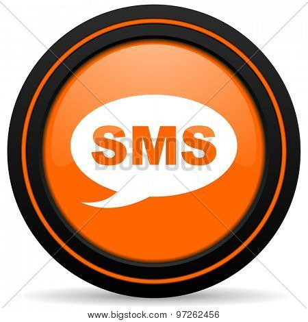 sms orange icon message sign