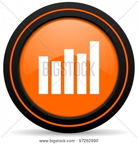 graph orange icon bar graph sign