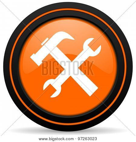 tools orange icon service sign