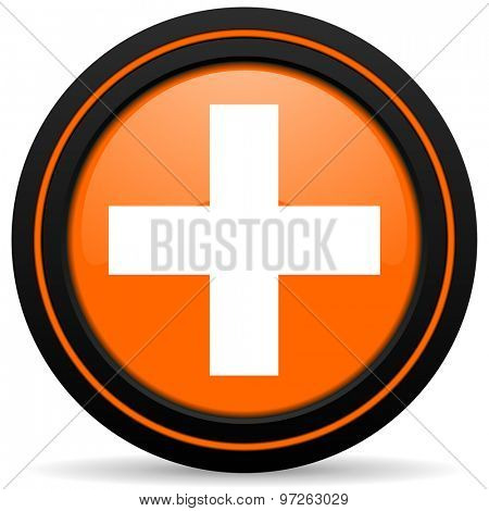 plus orange icon cross sign