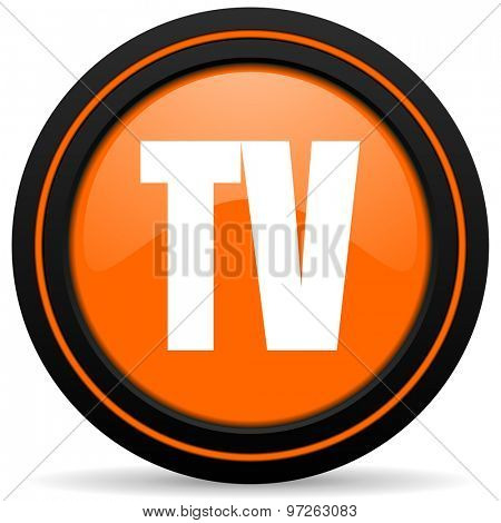 tv orange icon television sign