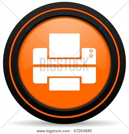 printer orange icon print sign