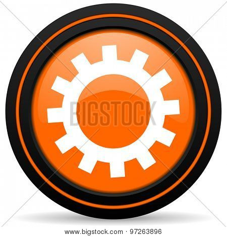 gears orange icon options sign