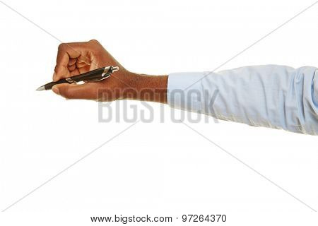 Hand of african man writing with a ballpoint pen