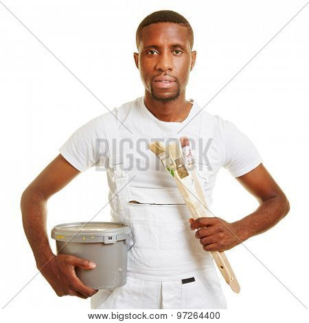 Black man as painter holding a brush and a paint can