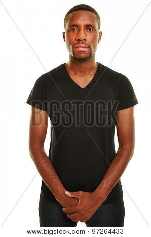 Young casual african man with neutral face in front view