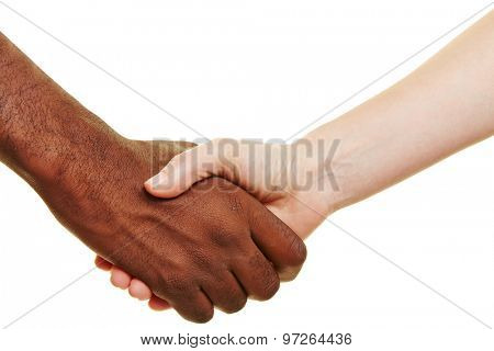 African and European shaking their hands for greeting
