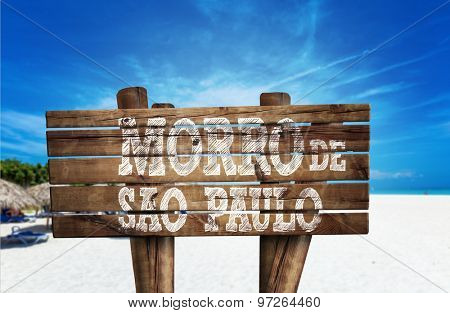 Morro de Sao Paulo wooden sign on the beach