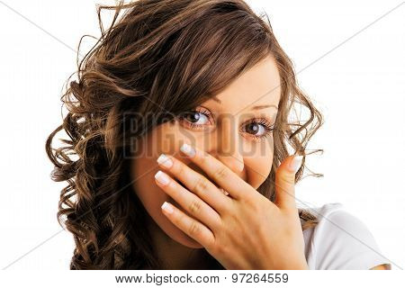 Young Woman Laughing Secretly