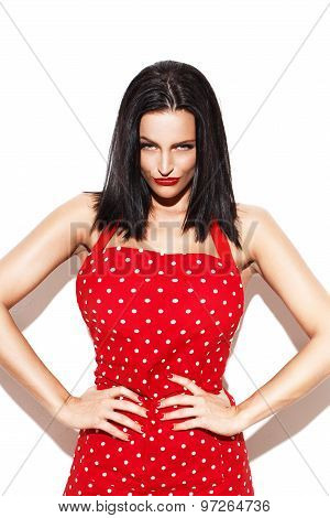 Sexy Housewife In Red Dotted Apron