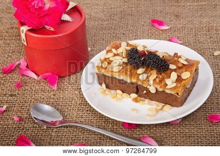 Homemade Toffee Cake With Mulberry