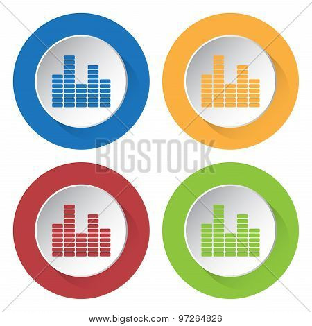 Set Of Four Icons - Equalizer