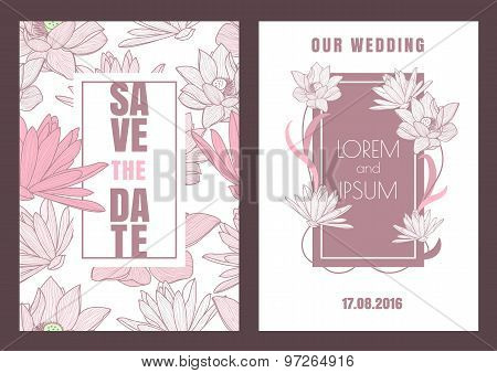 Set Of Vector Floral Save The Date Vintage Greeting Card. Hand Drawn Lotus Flower, Seamless Pattern