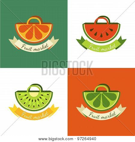 Set Of Vector Sliced Fruits In Bag. Abstract Creative Flat Logo Design.