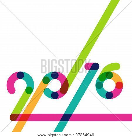 Abstract Multicolor Holiday Background With Place For Text. New Year 2016 Colorful Greeting Card.