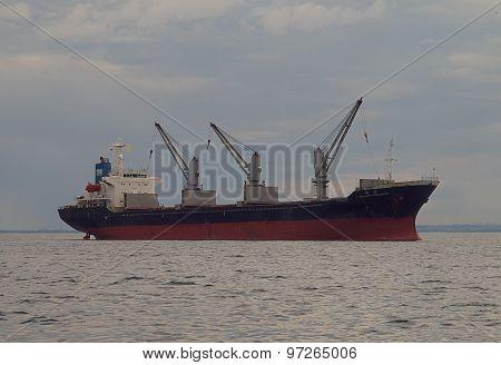 A seagoing ship.