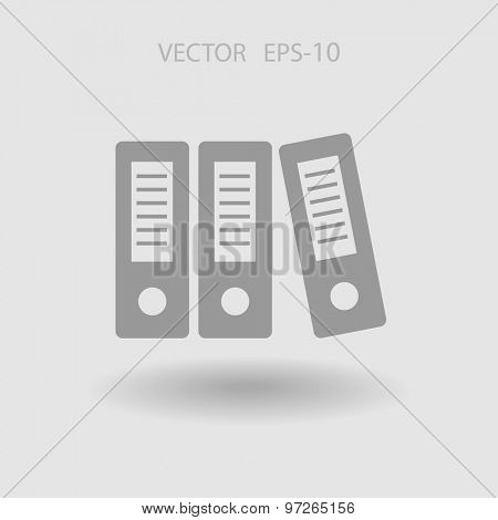 Flat long shadow Row of binders icon, vector illustration