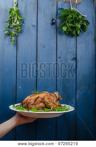 Grilled Organic Chicken With Herbs