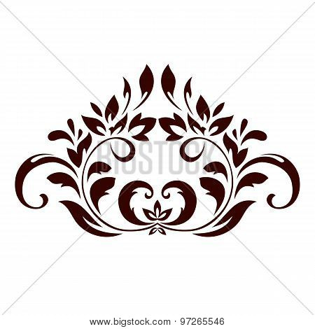 Floral Ornament With Leaves And Swirls