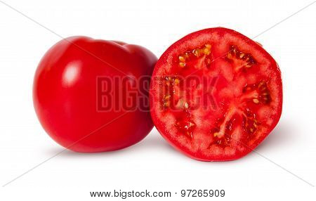 One And A Half Ripe Juicy Red Tomatoes