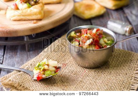 Bowl of Mexican salsa