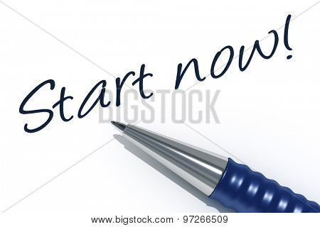 An image of a pen with the message start now