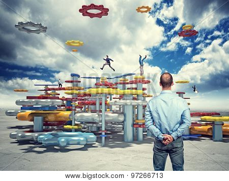 business people on 3d abstract life machine