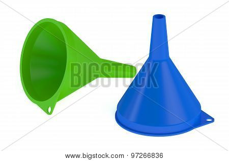 Two Plastic Funnels