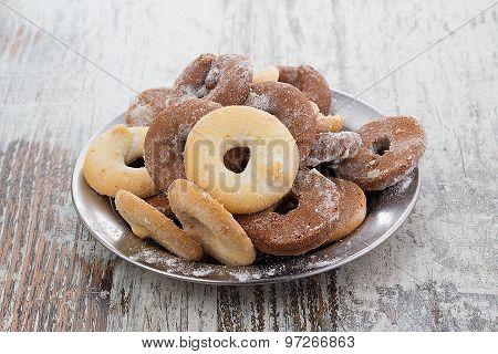 Fresh Cookies Over Wooden Vintage Background