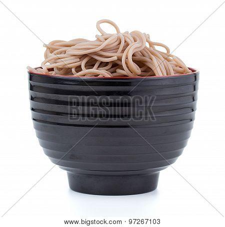 Japanese Buckwheat Soba Noodle; Isolated On White Background