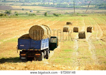 Truck Loaded With Hay Bales