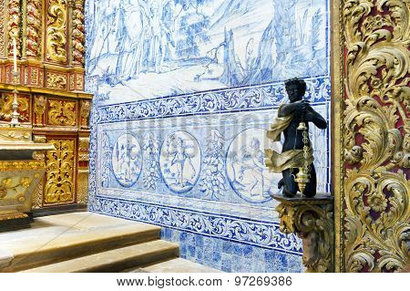 FARO, PORTUGAL - JUNE 2015: Interior architectural detail of Cathedarl of Se, 15 June 2015 in Faro, Portugal, Europe