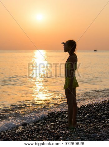 Young Girl On Shore Sea