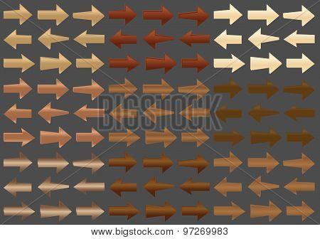 Vector Wooden Arrows. Set. EPS 8.