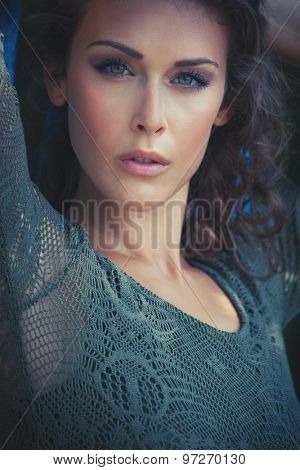 beautiful young woman portrait in summer  lacy dress  outdoor shot