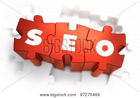 SEO - Text on Red Puzzles.