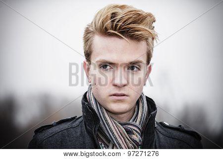 Portrait Of Fashion Model Guy Outdoors