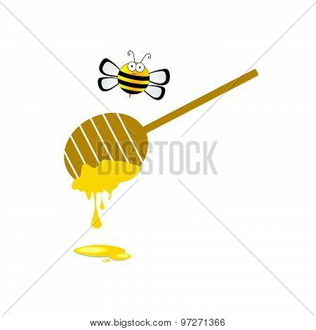 Bee And Honey Vector In Colorful