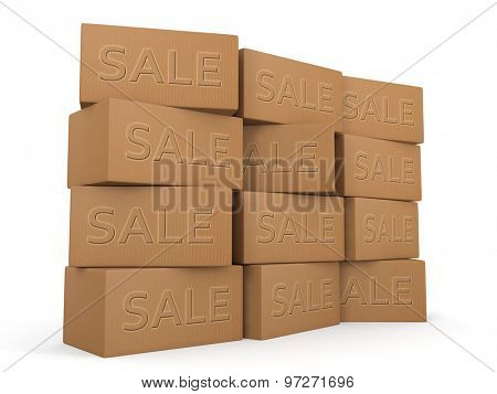 Retails season sales boxes stacked promotion shopping concept and design