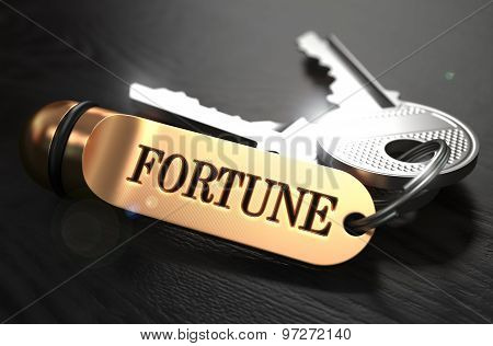 Keys to Fortune. Concept on Golden Keychain.