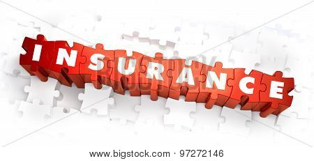 Insurance - Text on Red Puzzles.