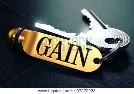 Keys to Gain. Concept on Golden Keychain.