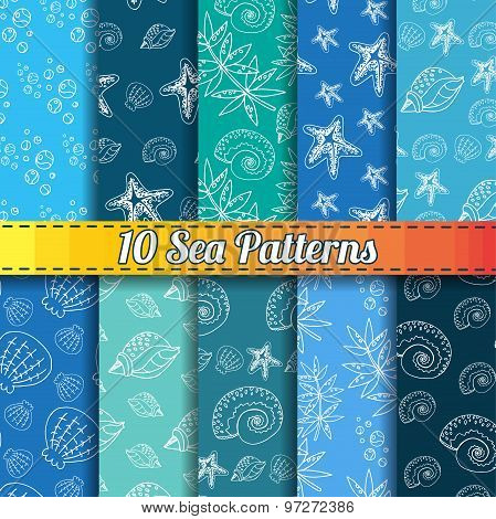 Set Of 10 Sea Different Seamless Patterns. Endless Vector Illustration With Sea Shells, Starfish, Se
