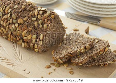 Fresh healthy organic baked pumpkin seed bread