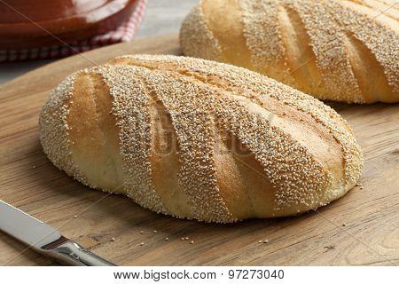 Whole fresh baked Moroccan semolina bread
