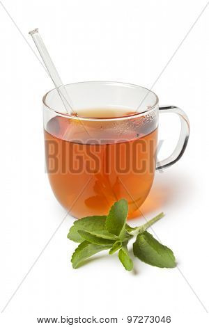 Glass with tea and fresh Stevia rebaudiana leaves as sweetener on white background