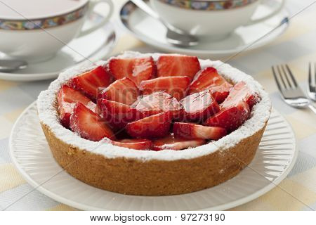 Fresh homemade strawberry pastry at tea time
