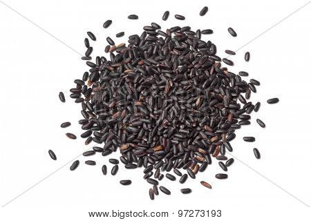 Heap of raw black venere rice on white background