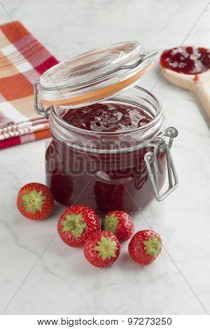Fresh homemade strawberry jam in a jar